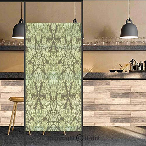(3D Decorative Privacy Window Films,Free Nature Inspired Mind Bind Folded Color Silhouette Counter Culture Artsy Print,No-Glue Self Static Cling Glass film for Home Bedroom Bathroom Kitchen Office 24x4)