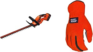 BLACK+DECKER 40V MAX Cordless Hedge Trimmer, 24-Inch with Easy-Fit All Purpose Glove (LHT2436 & BD505L)