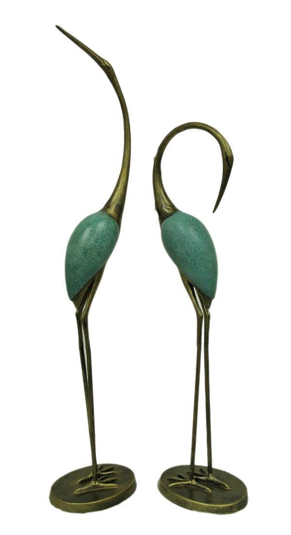 SPI Home 33336 Stylized Garden Crane Pair Sculpture by SPI Home