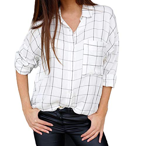 CUCUHAM Women Casual Long Sleeve Plaid Button Up Striped Shirt Blouse Tops With Pocket(White,US:8/CN:L)