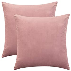 "Rythome Set of 2 Comfortable Throw Pillow Cover for Bedding, Decorative Accent Cushion Sham Case for Couch Sofa, Soft Solid Velvet with Zipper Hidden - 16""x16"", Mauve Pink"