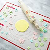 BakeitFun Silicone Pastry Mat With Measurements, Standard Size 59 x 38 cm, Full Sticks To Countertop For Rolling Dough, Conversion Information Included, Perfect Fondant Surface, FDA Approved & BPA Free
