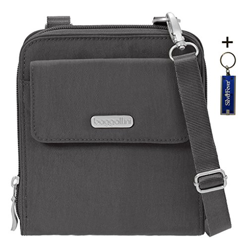 Baggallini RFID Passport Wallet Crossbody Bag Bundle Key Chain Purse Light(Charcoal)