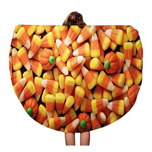 Pinbeam Beach Towel Colorful Candy Corn and Pumpkin Halloween Overhead Shot Travel 60 inches Beach Blanket -