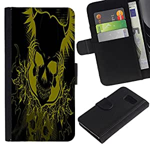 LASTONE PHONE CASE / Lujo Billetera de Cuero Caso del tirón Titular de la tarjeta Flip Carcasa Funda para Samsung Galaxy S6 SM-G920 / Yellow Floral Skull Skeleton