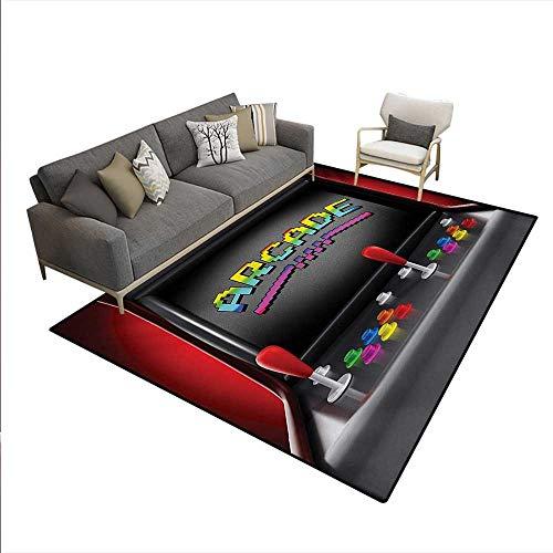 Carpet,Arcade Machine Retro Gaming Fun Joystick Buttons Vintage 80s 90s Electronic,Outdoor Rug,Multicolor,5'x6' ()