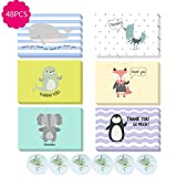 Lifreer 48 Pcs Thank You Cards & Envelopes Woodland Animals Designs Suitable for Kids All Occasions (6 Designs)
