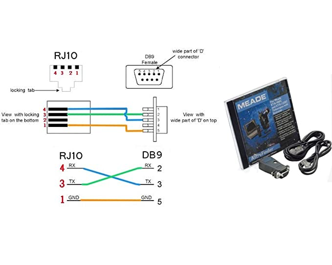 Amazoncom Meade 505 Telescope To Pc Cable Cp2102 Usb Rs232 4p4c Rj10 Adapter Control Console For Mead Telescope10ft Computers: Rj10 Cable Wiring Diagram At Gundyle.co