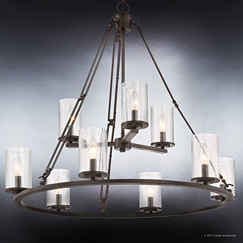 Luxury Industrial Chandelier, Large Size: 30''H x 33''W, with Western Style Elements, Rectangular Link Design, Elegant Estate Bronze Finish and Seeded Glass, UQL2131 by Urban Ambiance by Urban Ambiance (Image #3)