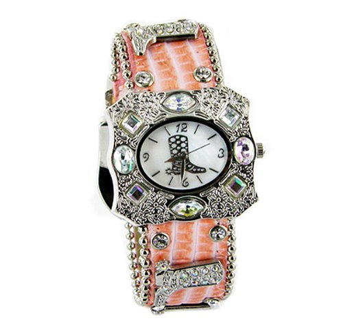 Geneva Women Cowboy Boot Studded Multi Crystal Leather Belt Watch Fashion-Peach