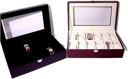 Caja Funda Caja para Relojes con Cristal Transparente 12 Soportes ...