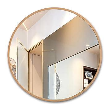 Bopi Badezimmerspiegel Runder Wand Badspiegel Holzrahmen