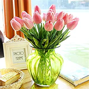 JJH 1 Branch PU Real Touch Tulips Tabletop Flower Artificial Flowers 1