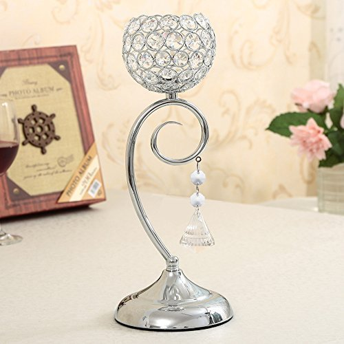 VINCIGANT Valentines Day Decoration Crystal Candle Holder for Dinning Room Table Centerpieces,Silver Candle Lamp (Lamps For Centerpieces)