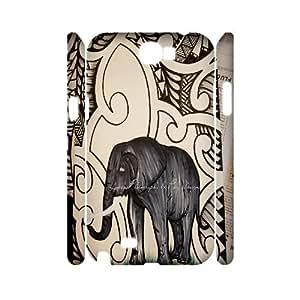ZK-SXH - Tribal Elephant Pattern Custom 3D Case Cover for Samsung Galaxy Note 2 N7100, Tribal Elephant Pattern DIY 3D Case