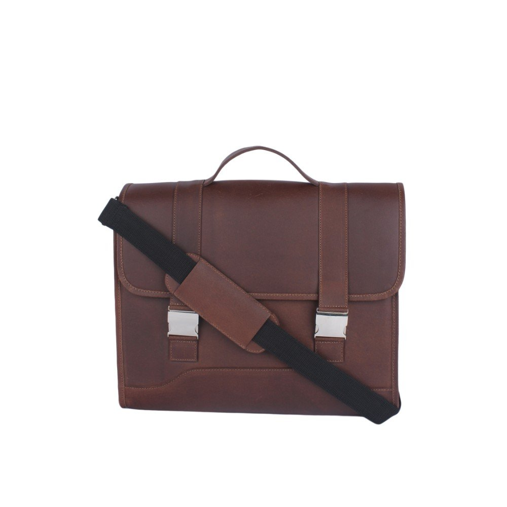 Liberty Laptop Briefcase Business Office Leather Shoulder Bag (Brown)