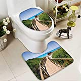 Muyindo Cushion Non-slip Toilet Mat Pathway over the Woodland in Spain Countryside Cottage Summer Sun Time Soft Non-Slip Water
