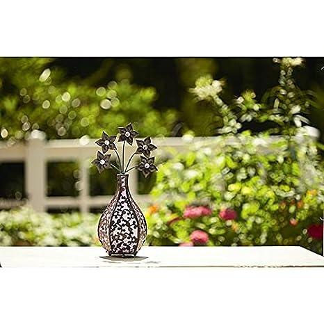 Garden Essentials 18 Inch Ornate Metal Solar Flower Vase Blossoms   Pink