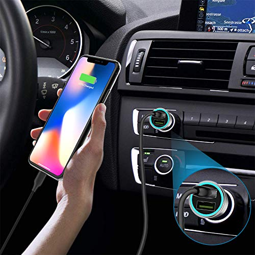 Fast USB Car Charger Adapter Guoguo Quick Charge 3.0 36W 4.8A Pure Copper Car Charger for iPhone,Samsung,LG and More