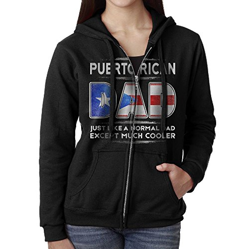 SHIRT-4 Puerto Rican Dad Is Much Cooler Casual Womens Full-Zip Sweatshirt Hoodie (Dad Womens Zip Hoodie)