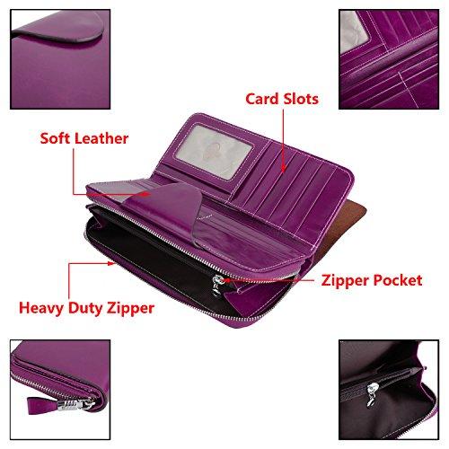 YALUXE Women's RFID Blocking Large Tri-fold Leather Wallet Ladies Luxury Zipper Clutch Fuchsia by YALUXE (Image #5)'