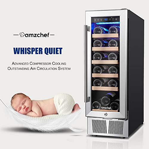 Wine Cooler, Built-in or Freestanding, AMZCHEF 19 Bottle Wine Refrigerator, Quiet, Constant Temperature, Energy Efficient by AMZCHEF (Image #1)