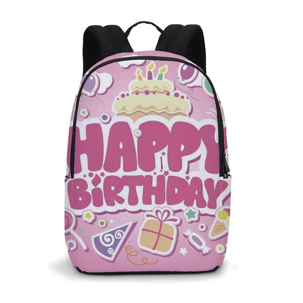 Birthday Decorations for Kids Modern simple Backpack,Cartoon Seem Party Image Balloons Boxes Clouds Cake Image for school,11.8''L x 5.5''W x 18.1''H by TecBillion (Image #1)