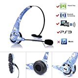 kiwitatá Wireless Bluetooth Headset Headphone Over the Head Gaming Headset For Sony Playstation 3 PS3 Mic With Microphone