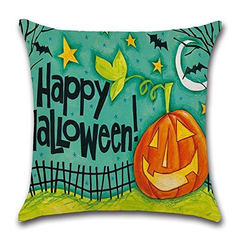 Aremazing Halloween Pumpkin Cotton Linen Home Decor Pillowcase Throw Pillow Cushion Cover Square 18 x 18 Inches (Happy (Happy Halloween Pumpkin Throw Pillow)