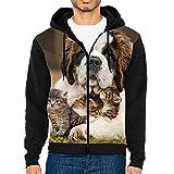 Men's Adult Full-Zip Hooded Sweatshirt 3D Saint Bernard Love Hoodie with Pocket