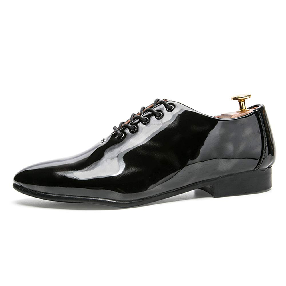 Hilotu Mens Fashion Oxfords Casual Lace Up Personality Contrast Color Patent Leather Prom Shoes Formal Wedding Shoes