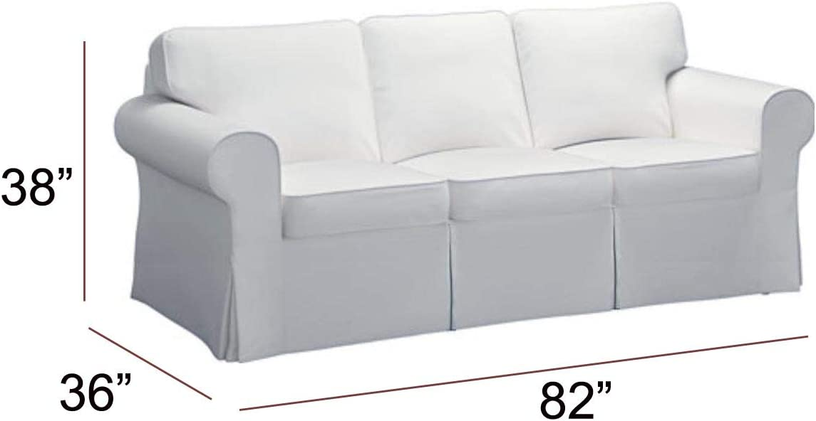 Amazon.com: The Sofa Cover Is 3 Seat Sofa Slipcover Replacement. It Fits Pottery Barn PB Basic Three Seat Sofa (Basic Cotton White): Home & Kitchen