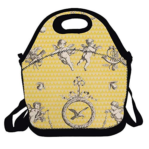 Love fled Cherub toile Wallpaper Lunch Bag Recycled Thermal Insulated Lunch Box Folding Fruits Food Lunch Pouch Food Bag Handbag Tote Ice Cooler Travel Organizer (Wallpaper Cherub)