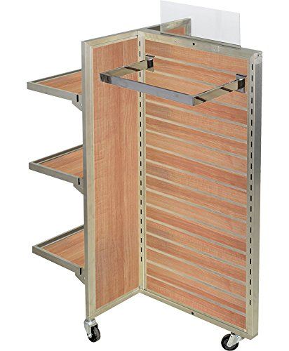 AMKO SM3 T-Sided Slat Wall Merchandiser 2 Panel, Satin Nickel Frame, Aluminum Inserts, 3'' Heavy Duty Casters, Maple Slat Wall Backing, Front & Back Display Rolling Wheels Quality Material
