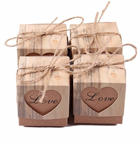 Heart Favor Box Kit (50pcs Love Heart Candy Box Rustic Wedding Gifts Kraft Packing Box With Burlap Jute Ribbon Wedding Party Decoration)