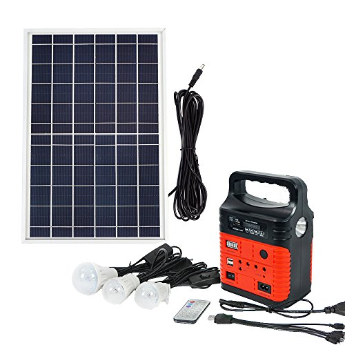 ECO LLC 10W Portable Solar Generator Kit Emergency Power Supply Included 10W Solar Panel &Rechargeable Solar Generator with USB Port &3 Sets LED Lamps Ideal For RV Boat Camping Outdoors(Red) by ECO LLC