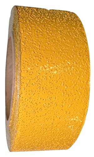 (ifloortape Yellow Reflective Outdoor Basketball Court Marking Tape with Reflective Surface for Asphalt and Concrete 2 Inch x 30 Foot (1 Roll))