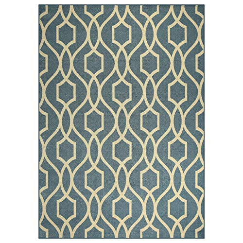 Maples Rugs Area Rugs - Bethany 5 x 7 Non Slip Large Area Rugs [Made in USA] for Living Room, Bedroom, and Dining Room, Blue