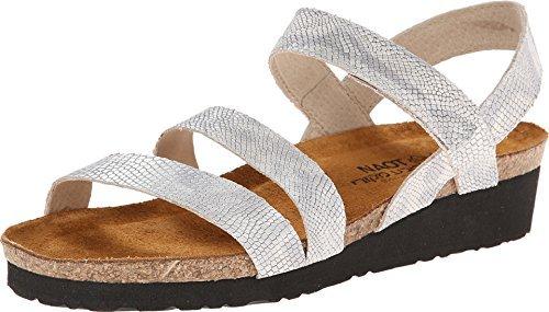 (Naot Footwear Women's Kayla Silver Snake Leather Sandal 41 (US Women's 10) M)