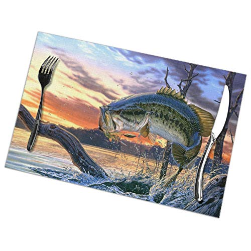 Bass Fish Jumping Placemats Set Of 6 For Dining Table Washable Kitchen Table Mats Easy To Clean (Best Places To Bass Fish)