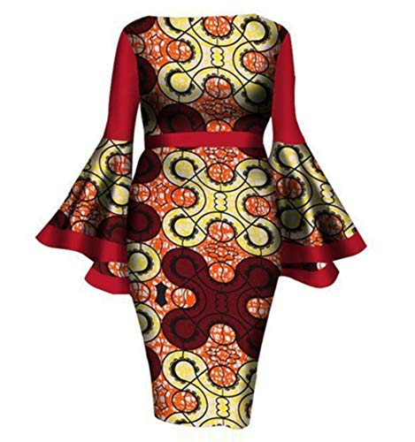 Women Dresses for Wedding Guest Comfortable and Imported air Layer Fabric Round Neck Long Horn Sleeve midi Waist Elegant Style Dresses(Yellow Printing XL)