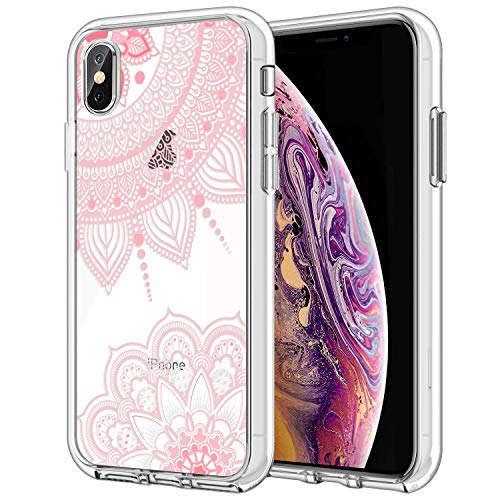 Hybrid Ultra Clear Case for iPhone Xs/iPhone X, Pink Henna Mandala Transparent Hard Back Cover for Girls and Women, TPU Shockproof Frame and Rigid PC Protective Back Plate for iPhone Xs/X 5.8