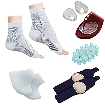 Plantar Fasciitis Foot Sleeve (1 Pair), Silicone Gel Heel Protector (1 Pair), Arch Support W/ Gel Therapy (1 Pair), Foot Massager (1 Piece), Sandal/Flip-Flop Toe Guards Cushion (1 Pair) - (Pack of 9)