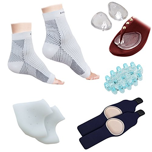 Plantar Fasciitis Foot Sleeve (1 Pair), Silicone Gel Heel Protector (1 Pair), Arch Support W/ Gel Therapy (1 Pair), Foot Massager (1 Piece), Sandal/Flip-Flop Toe Guards Cushion (1 Pair) - - Silicone Gel Heel