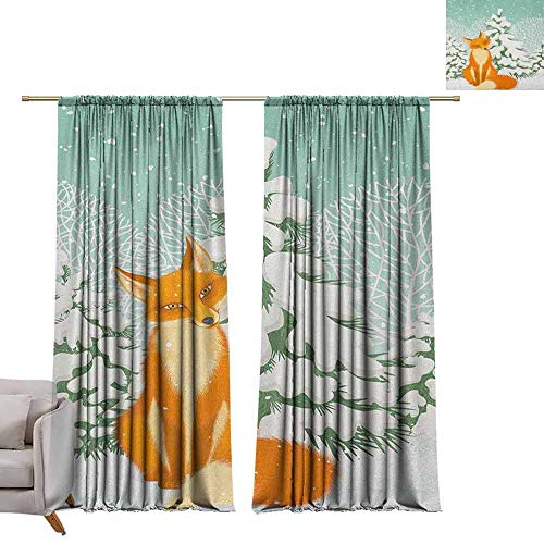 berrly Customized Curtains Fox,Red Fox Sitting in Winter Forest Snow Covered Pine Trees Xmas Cartoon, Orange White Almond Green W84 x L84 Waterproof Window Curtain