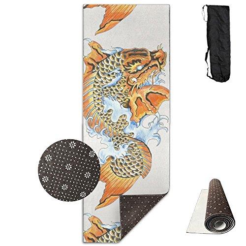 QNKUqz Koi Dragon Tattoo Deluxe Yoga Mat Aerobic Exercise Pilates ()