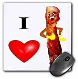 3dRose LLC 8 x 8 x 0.25 Inches Mouse Pad, I Love Bacon (mp_44535_1)