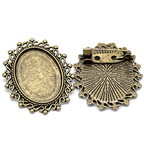 HOUSWEETY 10PCs Bronze Tone Oval Cameo Frame Setting Brooches 3.5x3cm(Fit 24.5x18mm) (Pin Oval Cameo)