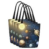 InterestPrint Solar System Canvas Tote Bag Handbag Shoulder Bag for Women Girls, 4 Pack