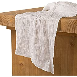 "Ling's moment 17"" Wide Bohemian Crinkled Ramie Cotton Blend Table Runner White Sheer Gauze Tablecloth Cheesecloth Table Runner for Woodland Greenery Wedding Party Bridal Shower Decor"
